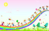 Happy children play on the rainbow