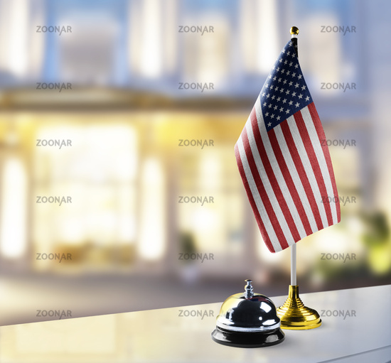 United States of America flag on the reception desk in the lobby of the hotel