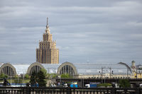 view of the academy of sciences and the old market in Riga, Latvia