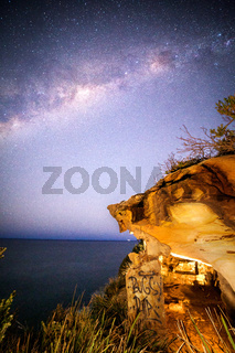 Starry sky over Eastern NSW escarpment