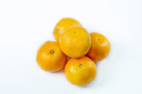 Copy space and mock up. Mandarin, tangerine citrus fruit isolated on white background.