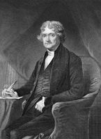 Thomas Jefferson (1743-1826) on engraving from 1873. American Founding Father