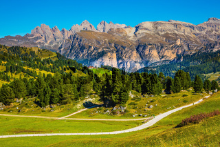 The picturesque road on the Sella Pass