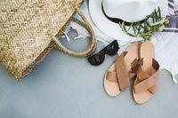 Modern summer accessories flat lay