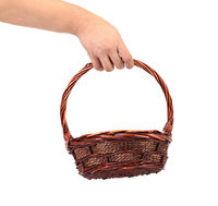 Hand hold vintage weave wicker basket