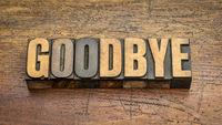 goodbye - word in vintage letterpress wood type