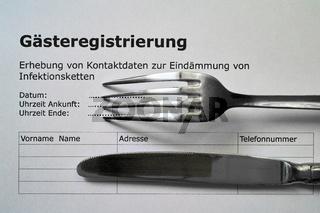 Formular für die Gästeregistrierung in einem Restaurant in Deutschland