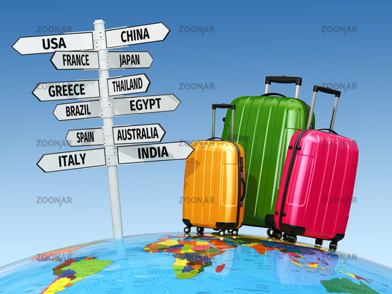 Travel concept. Suitcases and signpost with countries.