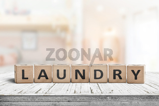 Laundry sign on a white table