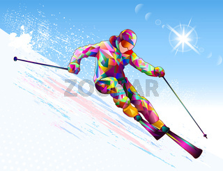 Alpine skier skiing down a snowy slope