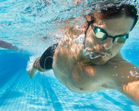 Pro freestyle and crawl swimmer in under water view.