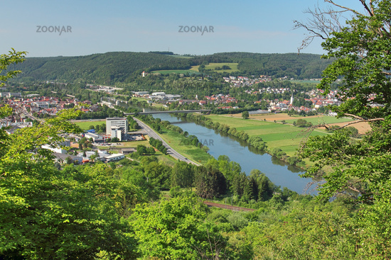 View of the town of Mosbach on the river neckar