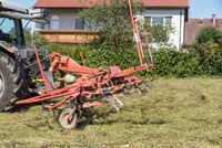 Mown grass is turned by a farmer with a rake for haymaking - tedders