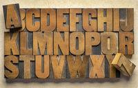 alphabet in vintage letterpress wood type printing blocks
