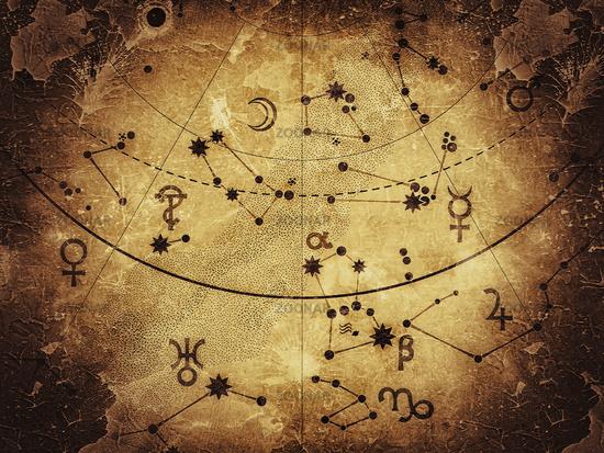 Fragment of Astronomical Celestial Atlas: Stars, Planets, Heavens. (Antique Alternate).