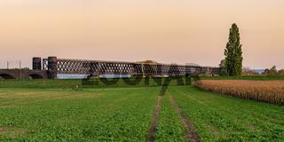 Railway bridge in Urmitz, Rhineland-Palatine, Germany