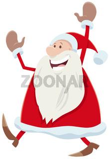 happy Santa Claus cartoon character celebrating Christmas time