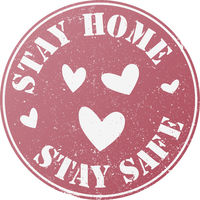 grungy round STAY HOME, STAY SAFE stamp or badge