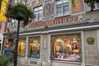 Shop window, Alte Apotheke (Old pharmaacy), Füssen, Allgäu, Ostallgäu, Bavaria, Europe