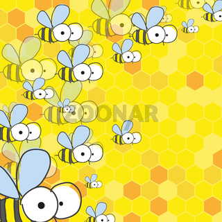Bees And Honey. Spring Background.