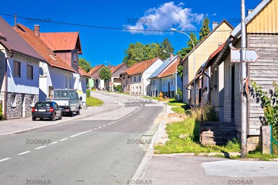 Mountain village of Ravna Gora street view