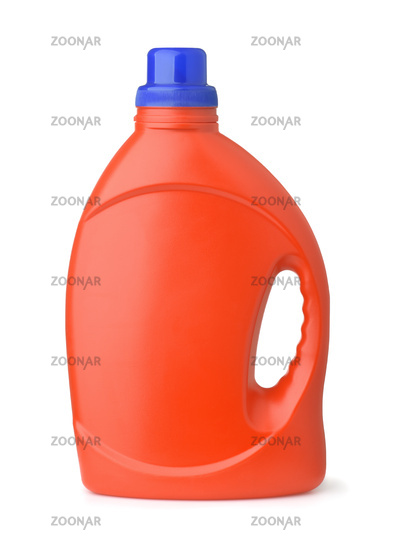 Side view of red plastic bottle