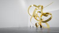 virtual museum with golden sculpture