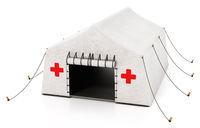Field type mobile hospital tent isolated on white background. 3D illustration