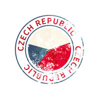 Czech Republic sign, vintage grunge imprint with flag on white