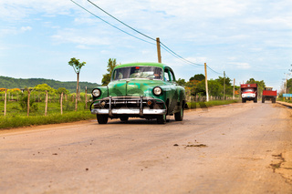Amerikanischer grüner Oldtimer in Kuba