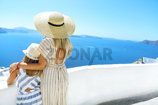 Anonymous mother and daughter on Santorini