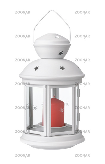 Front view of white metal lantern candle holder