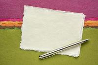 sheet of white Khadi rag paper