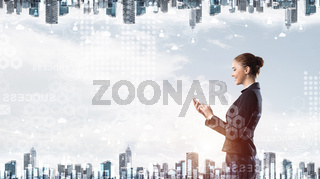 Double exposure concept with woman and cityscape