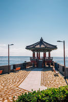 Songjeong beach Jukdo Park Korean traditional pavilion in Busan, Korea