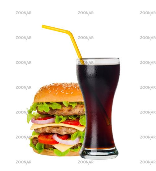 Cola and Big hamburger on white background