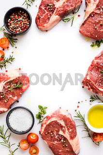 ingredients for cooking steak on a white background