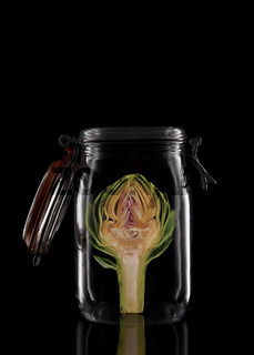 An Artichoke in a glass storage or canning jar isolated on black with reflection, with lid open.