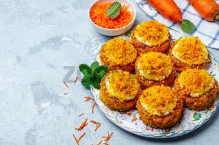 Homemade mini carrot cakes.