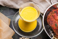Mango Lassi, yogurt or smoothie. Healthy probiotic Indian popular summer drink