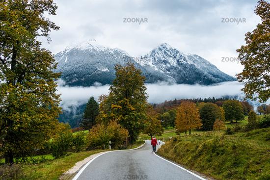 Walking along the roadside towards Ramsau in October, Berchtesgarden, Germany
