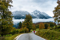 Walking along the roadside towards Ramsau in October, Berchtesgarden, Germany