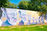 Cordoba Argentina mural representing African faces