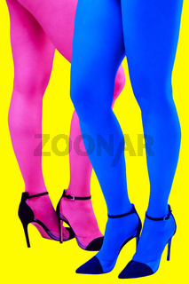Close-up picture of woman's beautiful blue and pink legs in high heels shoes on acid yellow color background. Disco lights. Fasion. Surreal art. Funny modern art collage. Pop art. Zine culture.