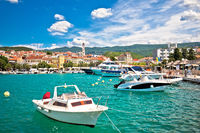 Colorful town of Crikvenica harbor and tower view