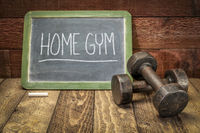 home gym, fitness and healthy lifestyle concept