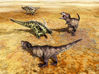 Gigantspinosaurus and Tyrannosaurus Rex