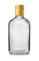 Front view of clear glass alcohol flask