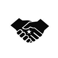 Two Hands in Business Handshake with Star in the Center Retro Style Black and White