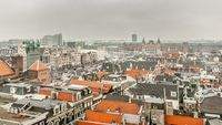 View on Amsterdam Central Station from the Old Church